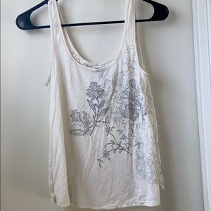 American Eagle White Tank with Lace Back